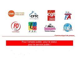 Communiqué intersyndical - Pour l'emploi public, pour le statut,  pour le service public !