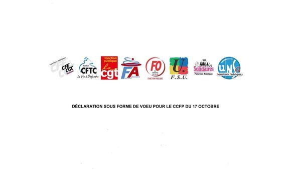 Déclaration unitaire de 8 organisations syndicales représentatives, dont la FA-FP, lors du CCFP du 17 octobre 201