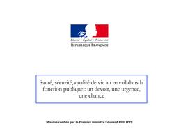 """Remise du rapport """"Lecocq, Verdier, Coton - """"Santé, sécurité, qualité de vie au travail dans la Fonction publique : un devoir, une urgence, une chance"""""""