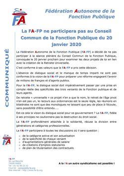 Communiqué FA-FP - La FA-FP ne participera pas au CCFP du 20 Janvier 2020 - Validé