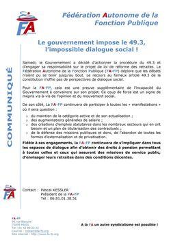 Le gouvernement impose le 49.3, l'impossible dialogue social !
