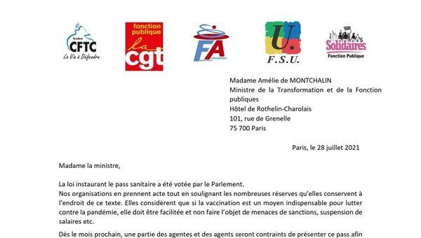 COVID 19 - PASS SANITAIRE: La FA-FP et quatre autres syndicats de la FP s'adressent à la Ministre de la Transformation et de la Fonction Publiques